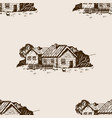 rural landscape seamless pattern engraving vector image