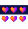 set colorful realistic hearts with shadow vector image vector image