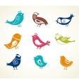 set of cute decorative birds vector image vector image
