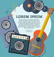 Set of guitar combo amp speaker notes and records vector image