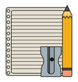 sheet notebook paper with pencil and sharpener vector image vector image