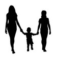 sisters with toddler walking silhouette vector image