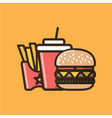 soda soft drink burger sandwich and french fries vector image vector image