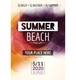 summer beach party flyer template design vector image vector image