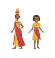 Two Women In Yellow And Red Dresses From African vector image vector image