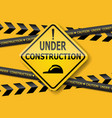 under construction sign label background vector image vector image