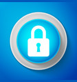 white lock icon isolated on blue background vector image vector image