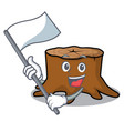 with flag tree stump mascot cartoon vector image vector image