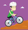 young man on bicycle traveling in the mountains vector image vector image