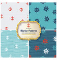 4 different marine seamless patterns vector image
