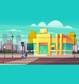 bank branch building on city street cartoon vector image vector image