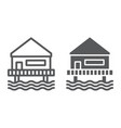 beach bungalow line and glyph icon seaside and vector image vector image