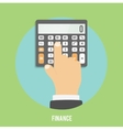 Calculator icon Hand considers on the calculator vector image vector image