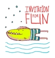 Cartoon Fun Monster Fish Invitation or Greeting vector image vector image