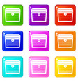 chest icons 9 set vector image vector image