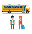 children get on school bus flat vector image vector image