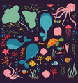 collection colorful sea and ocean animals vector image vector image
