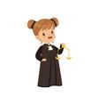cute judge girl cartoon character holding golden vector image vector image