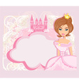 decorative frame with beautiful princess and pink vector image
