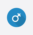 female symbol Flat Blue Simple Icon with long vector image vector image