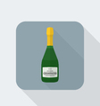 flat style champagne bottle icon with shadow vector image