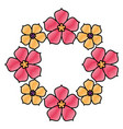 floral sakura wreath flowers natural decoration vector image