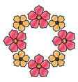 floral sakura wreath flowers natural decoration vector image