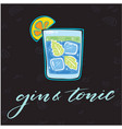 gin tonic glass of cocktail background im vector image