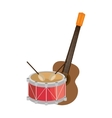 guitar and drum instrument isolated icon vector image vector image