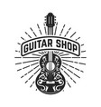 guitar shop rock and roll design element for logo vector image vector image