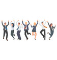 happy group office worker jumping vector image