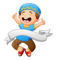 happy muslim kid giving thumb up with white ribbon vector image vector image