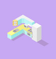 low poly isometric kitchen set vector image vector image