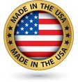 Made in the USA gold label vector image vector image