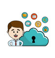 man with cloud data wifi and technology icons vector image vector image