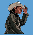 man with cowboy hat western portrait vector image vector image