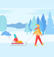mother pulling child sitting on sleds in winter vector image vector image