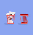 office plastic trash cans vector image vector image