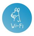 rabbit one line art logo design wifi vector image