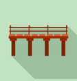 river bridge icon flat style vector image vector image