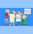 robot shouts through megaphone with people on vector image vector image