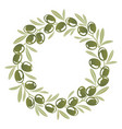 round ornament wreath of green olives vector image vector image