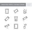 sachet line icons included vector image