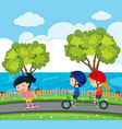 scene with kids riding bike in park vector image vector image