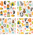 seamless patterns with cute animals vector image vector image