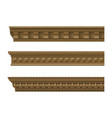 set classical wooden cornices vector image vector image