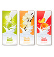 set of three labels of of fruit in milk splashes vector image vector image