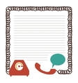 sheet with draw of phone and cord vector image