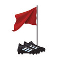 soccer boots and flag vector image vector image