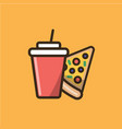 soda soft drink and slice of pizza vector image vector image